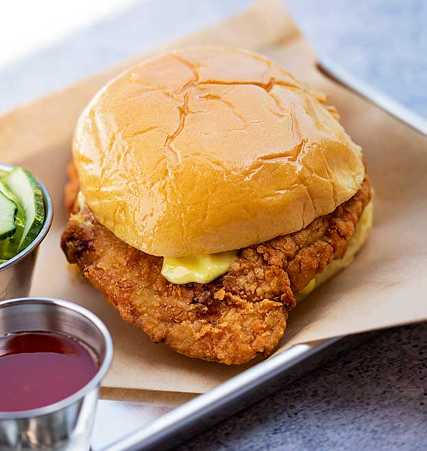 Fried Chicken Sandwich with Pickles, Sriracha Honey